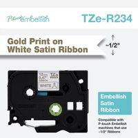 "Brother P-touch Embellish Gold Print on White Satin Ribbon TZER234 - 1/2"" inch wide x 13.1ft long (12mm x 4m)"