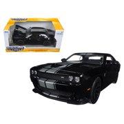 2015 Dodge Challenger SRT Hellcat Black with Silver Stripes 1/24 Diecast Model Car by Jada