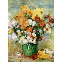Bouquet of Chrysanthemums, circa 1884 Flower Still Life Bouquet Painting Print Wall Art By Pierre-Auguste Renoir