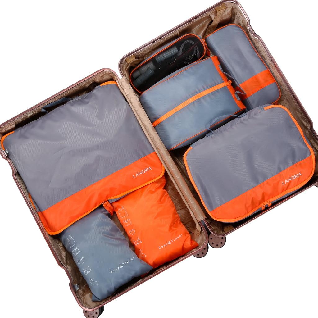 Grey ATACAT 7 Set Packing Cubes with Shoe Bag 3 Various Sizes Travel Luggage Packing Organizers