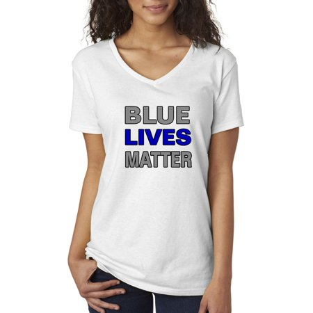 New Way 738 - Women's V-Neck T-Shirt Blue Lives Matter Law Enforcement Police