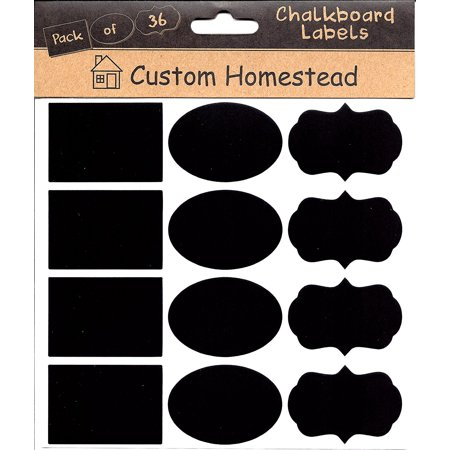 Custom Homestead Multi Shape Pack Chalkboard Labels - Set of 36 Stickers (Rectangle, Oval & Fancy) - For Mason Jars, Spice Racks, Kitchen Pantry Organizer & More for $<!---->