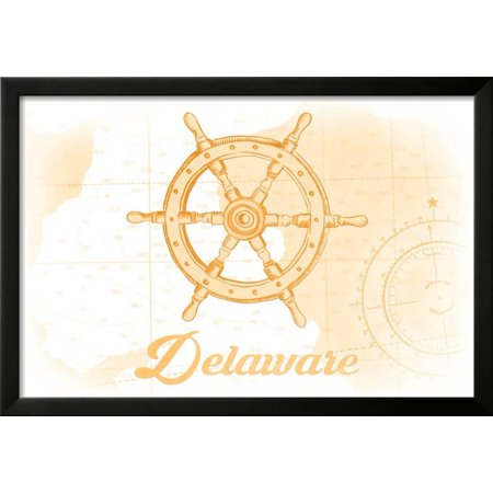 Delaware - Ship Wheel - Yellow - Coastal Icon Framed Print Wall Art ...