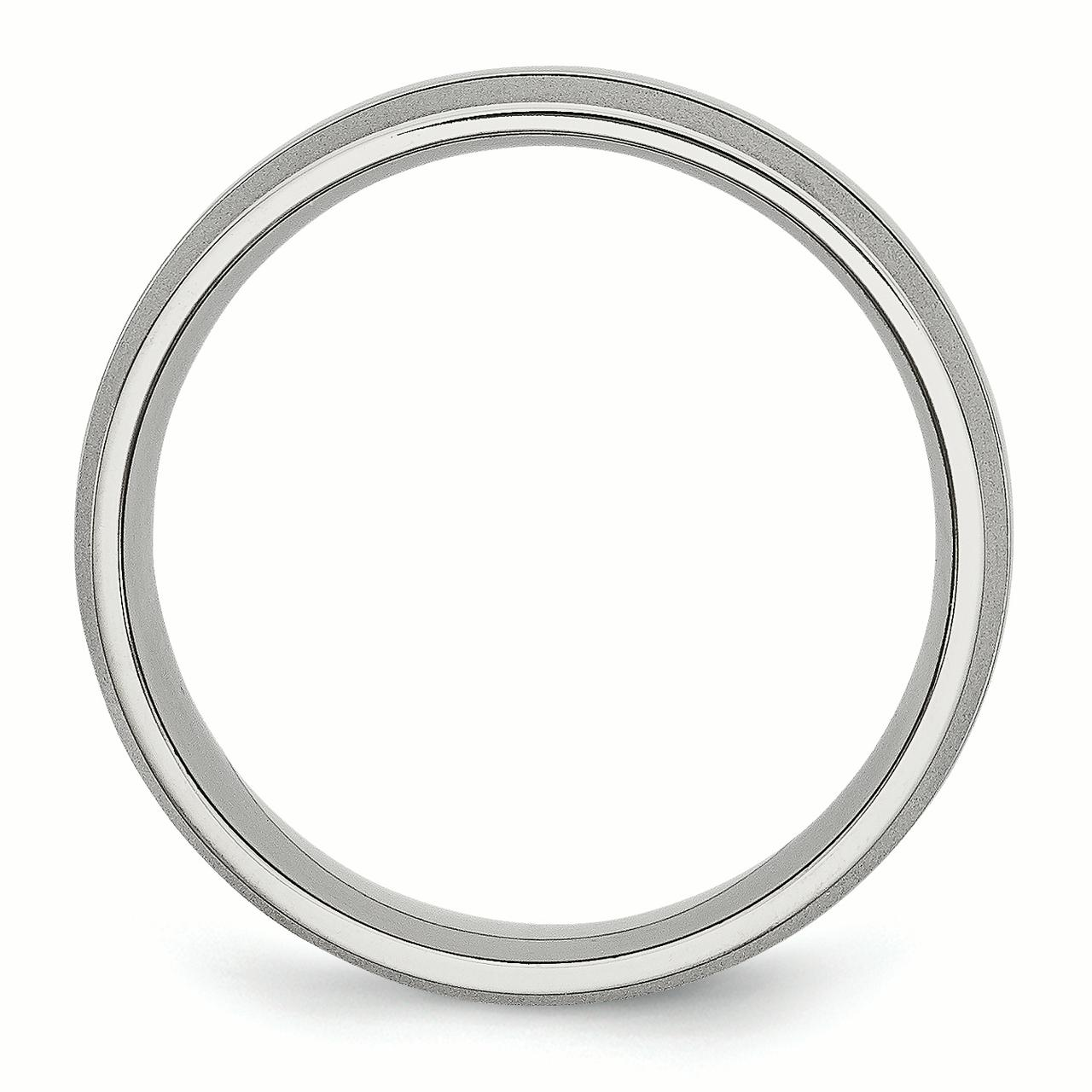 Stainless Steel Grooved 8mm Brushed and Polished Band Size 13.5 - image 1 of 3