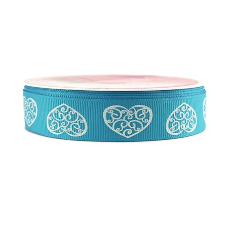 Glitter Swirl Heart Grosgrain Ribbon, 7/8-inch, 4-yard, Turquoise - Ribbon Heart