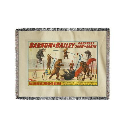 Barnum   Bailey   Pallenbergs Wonder Bears Vintage Poster Usa C  1915  60X80 Woven Chenille Yarn Blanket