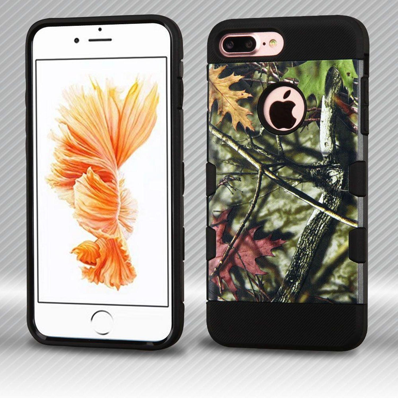 Insten Oak Leaves Hard Plastic/Soft TPU Rubber Case Cover for Apple iPhone 7 Plus, Green/Black
