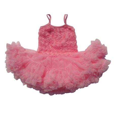 V Flourish Rosette Petti Toddler Sundress Tutu - Pink Combo XLarge (3-4 - Pet Tip