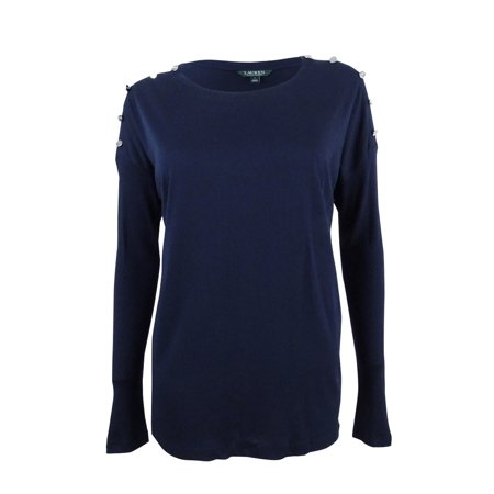RALPH LAUREN Womens Navy Button Sleeve Long Sleeve Jewel Neck Top Size: S