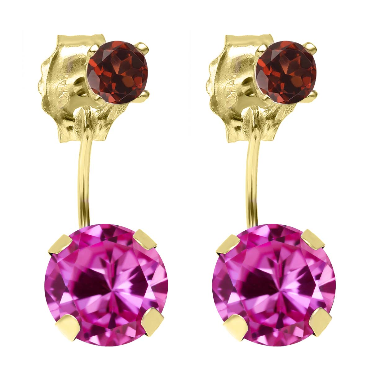 2.24 Ct Round Pink Created Sapphire Red Garnet 14K YG Top&Bottom Earrings by