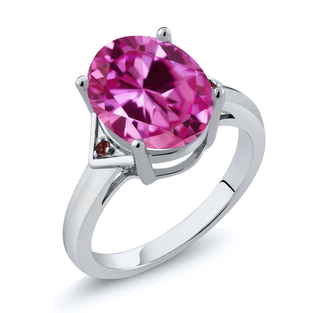 6.02 Ct Oval Pink Created Sapphire Red Garnet 14K White Gold Ring by