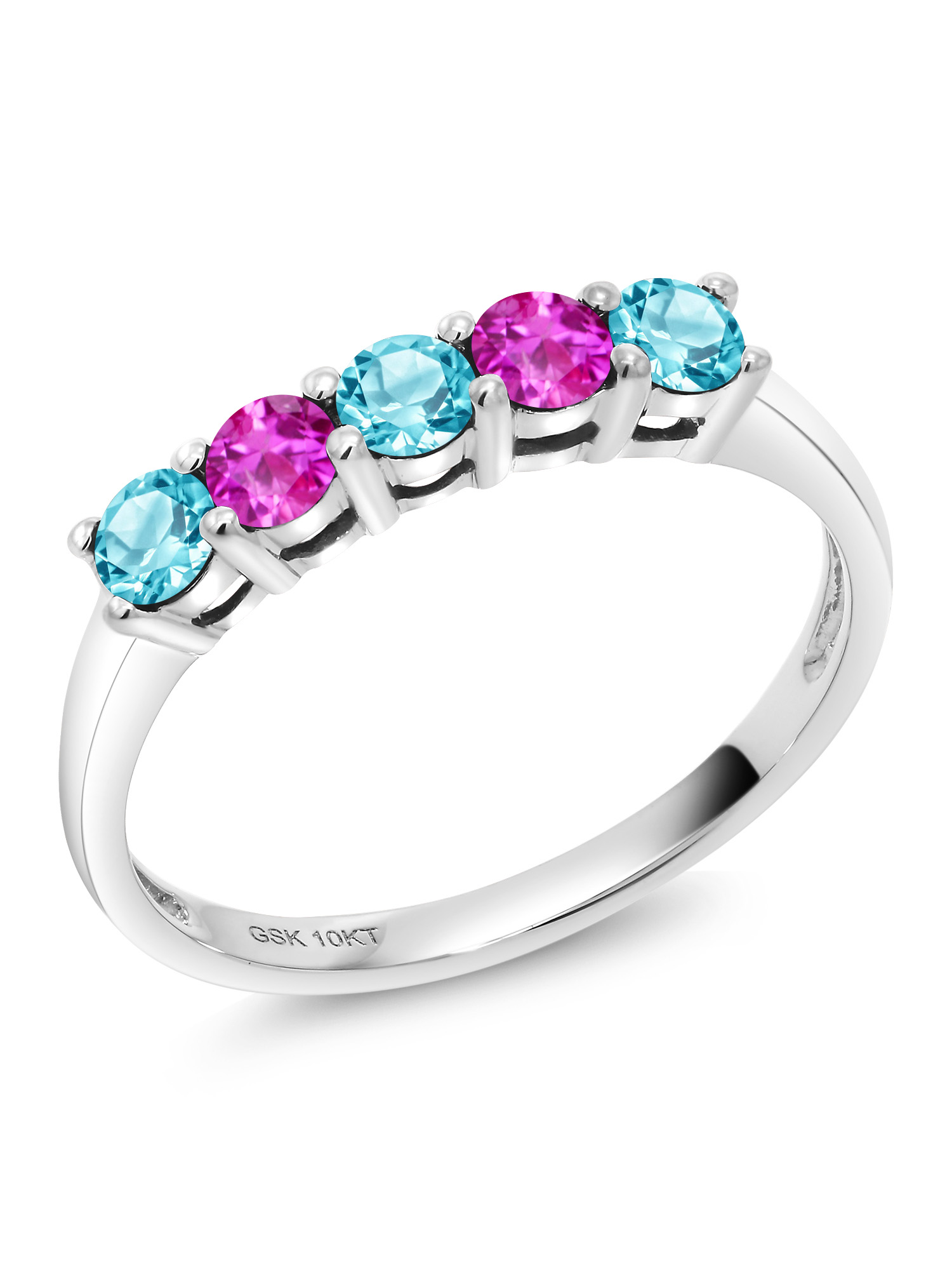 0.71 Ct Round Swiss Blue Topaz Pink Sapphire 10K White Gold Ring by