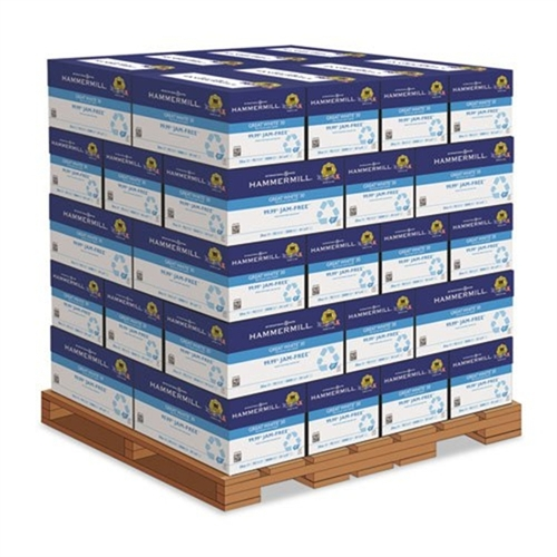 Hammermill Great White Recycled Copy Paper, 92 Bright, 20lb, 8-1/2 x 11, 200,000 Sheets/PLT HAM86700PLT