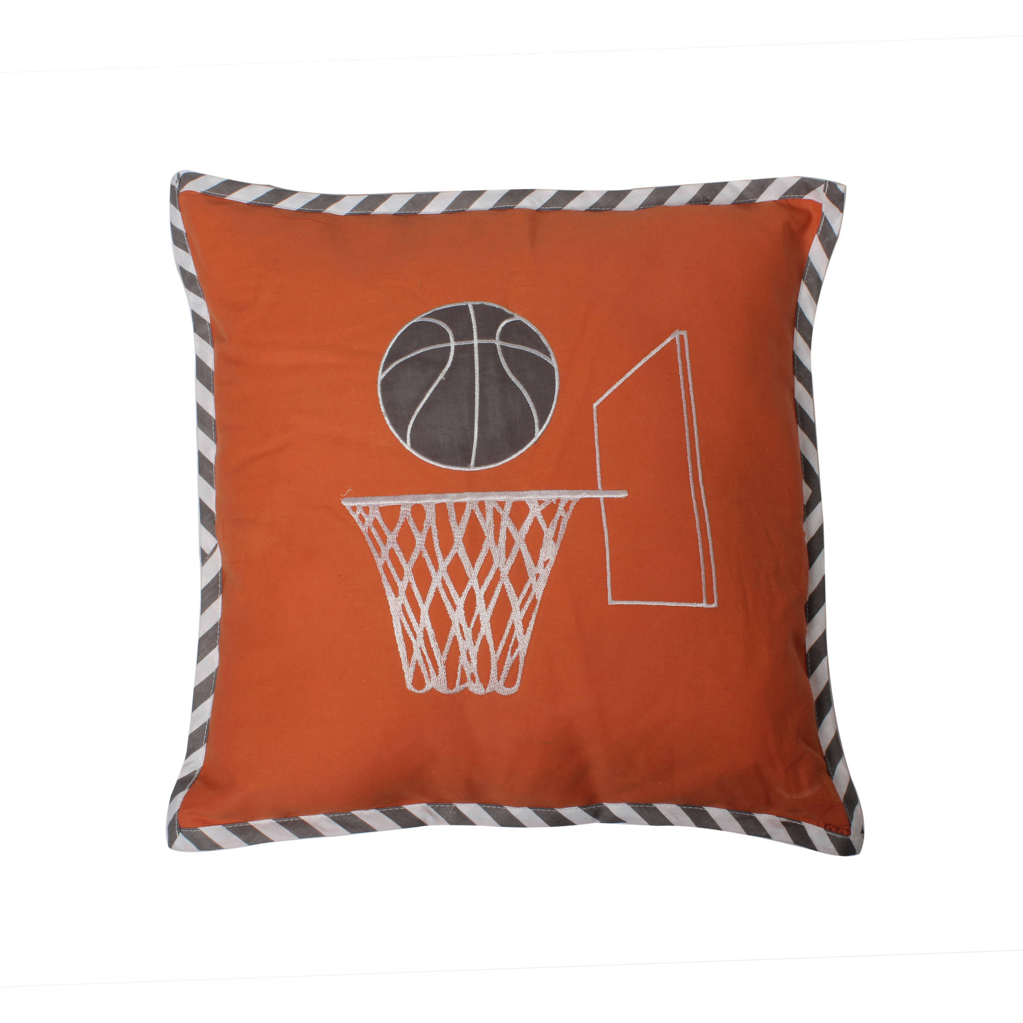 Bacati - Basketball Orange/Grey Muslin Dec Pillow 12 x 16 inches with removable 100% Cotton cover and polyfilled pillow insert