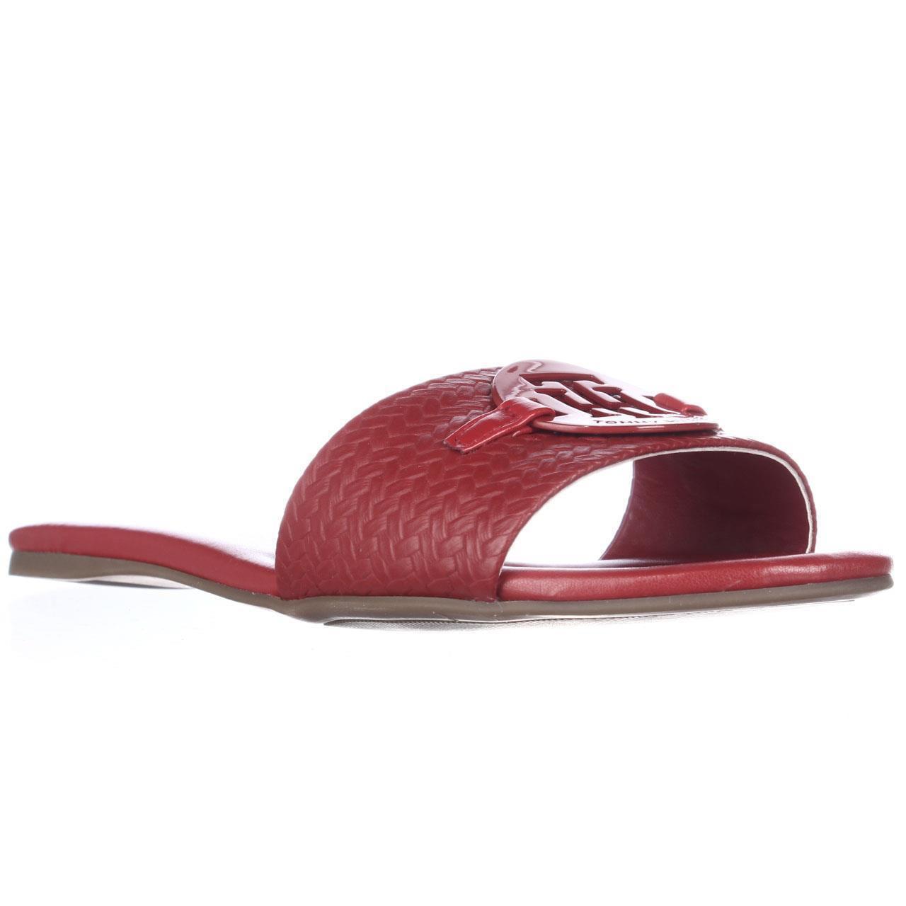Womens Tommy Hilfiger Fabre Flat Slide Sandals - Medium Red