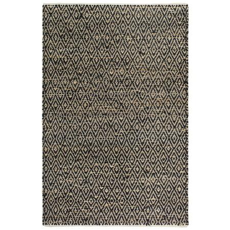Recycled Jute (Fab Habitat, Jute & Recycled Cotton Area Rug/Floor Mat, Eco-friendly Natural Fibers, Handwoven - Madera/Black & Natural, 2' x)