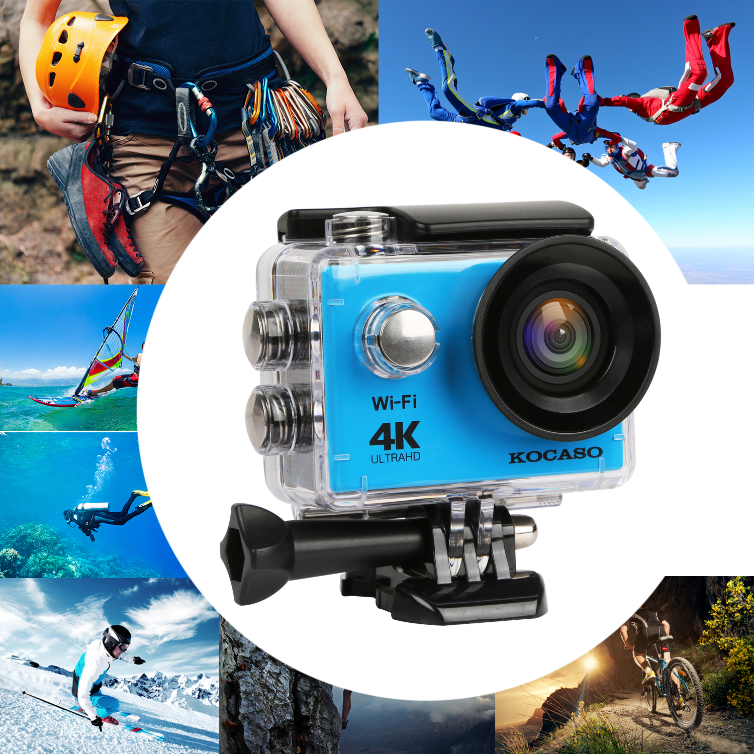 "KOCASO [4K Ultra HD] Sports 170° Ultra Wide-Angle Lens Action Camera. 2"" LCD Display, Supports Slow Motion/Time Lapse/Loop/Driving Record. Built-In Wi-Fi/HDMI, FREE Waterproof Underwater Case - BLACK"