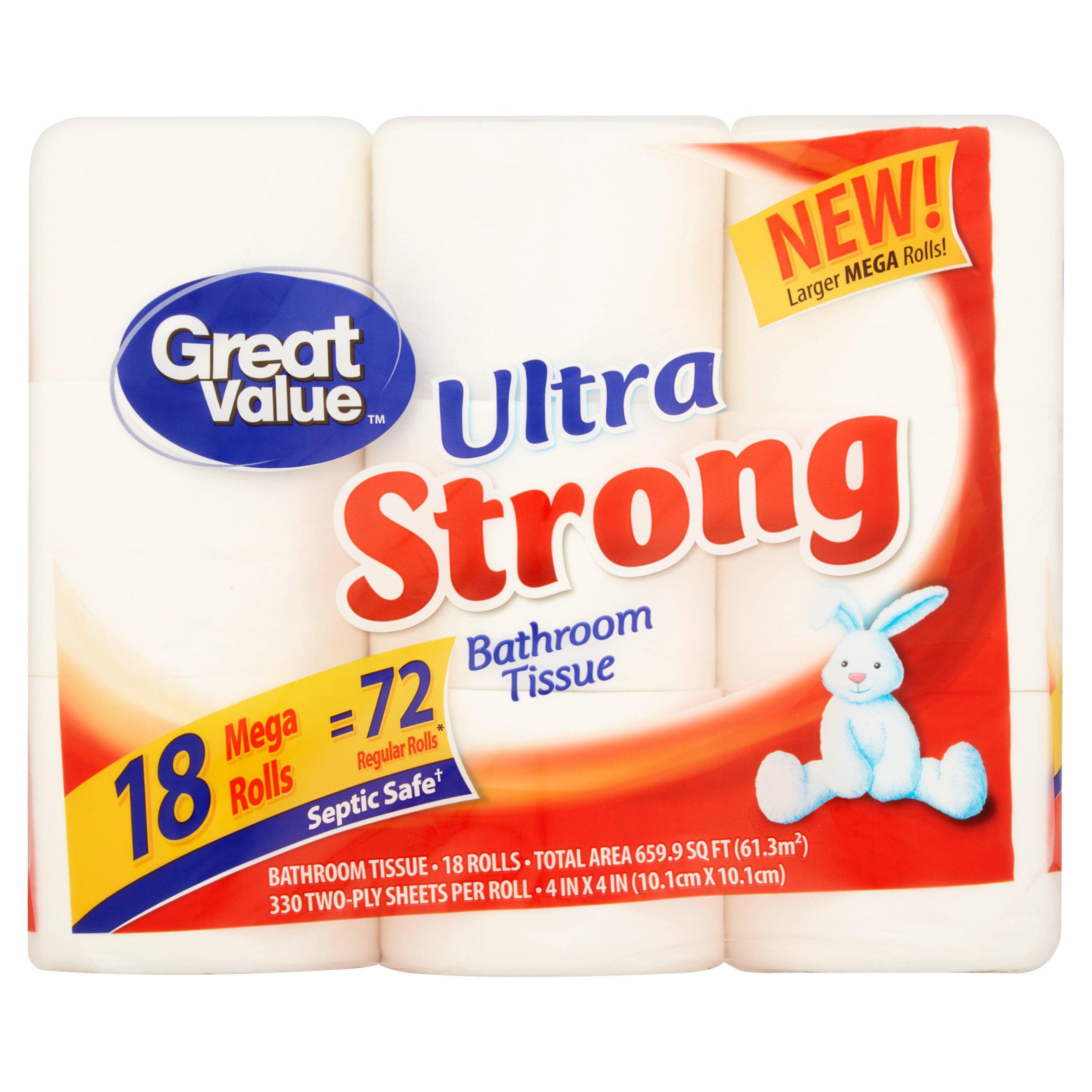 Great Value Bathroom Tissue Ultra Strong 18 Mega Rolls