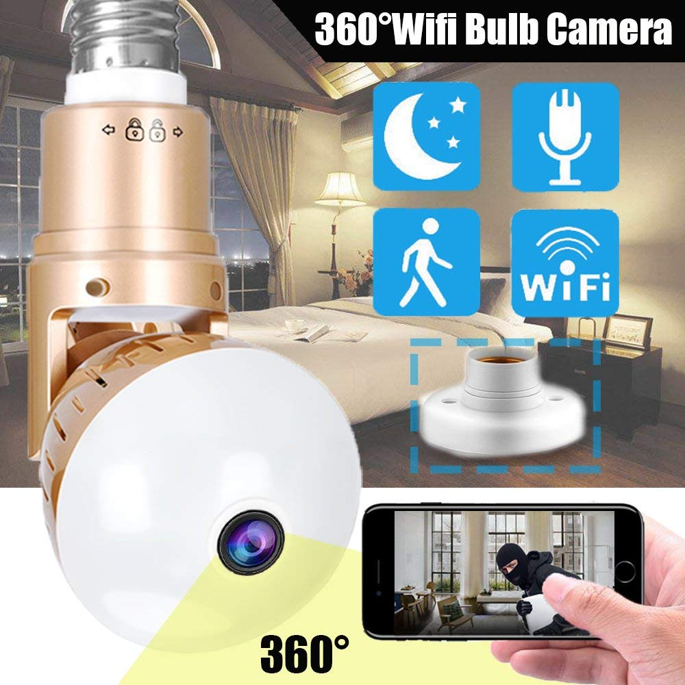 HD 1080P Wifi Light Bulb Camera Security IP Camera 360 Degree Panoramic Webcam