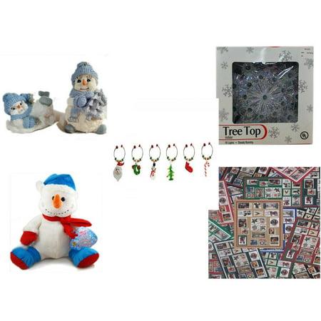 Christmas Fun Gift Bundle [5 Piece] - 1998 Encore Group Snowman Ornaments Set - 19-Light Snowflake Tree Topper - LSArts Wine Glass Charms  Set of 6 - Snowman  (Sugarloaf Glass)