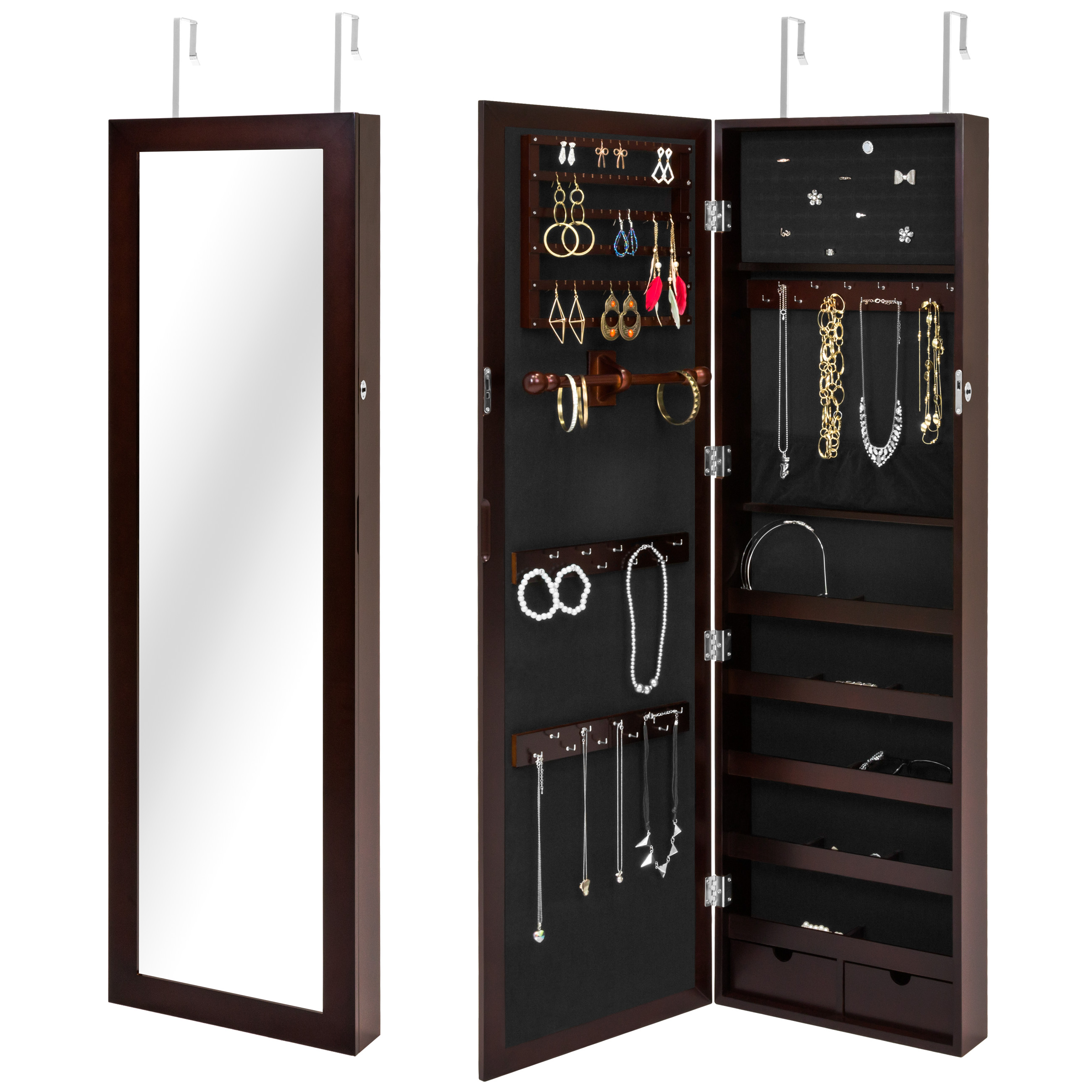 Best Choice Products Mirrored Lockable Jewelry Cabinet Armoire Organizer w/ Door Hanging Hooks, Wall Mount, Keys - Brown