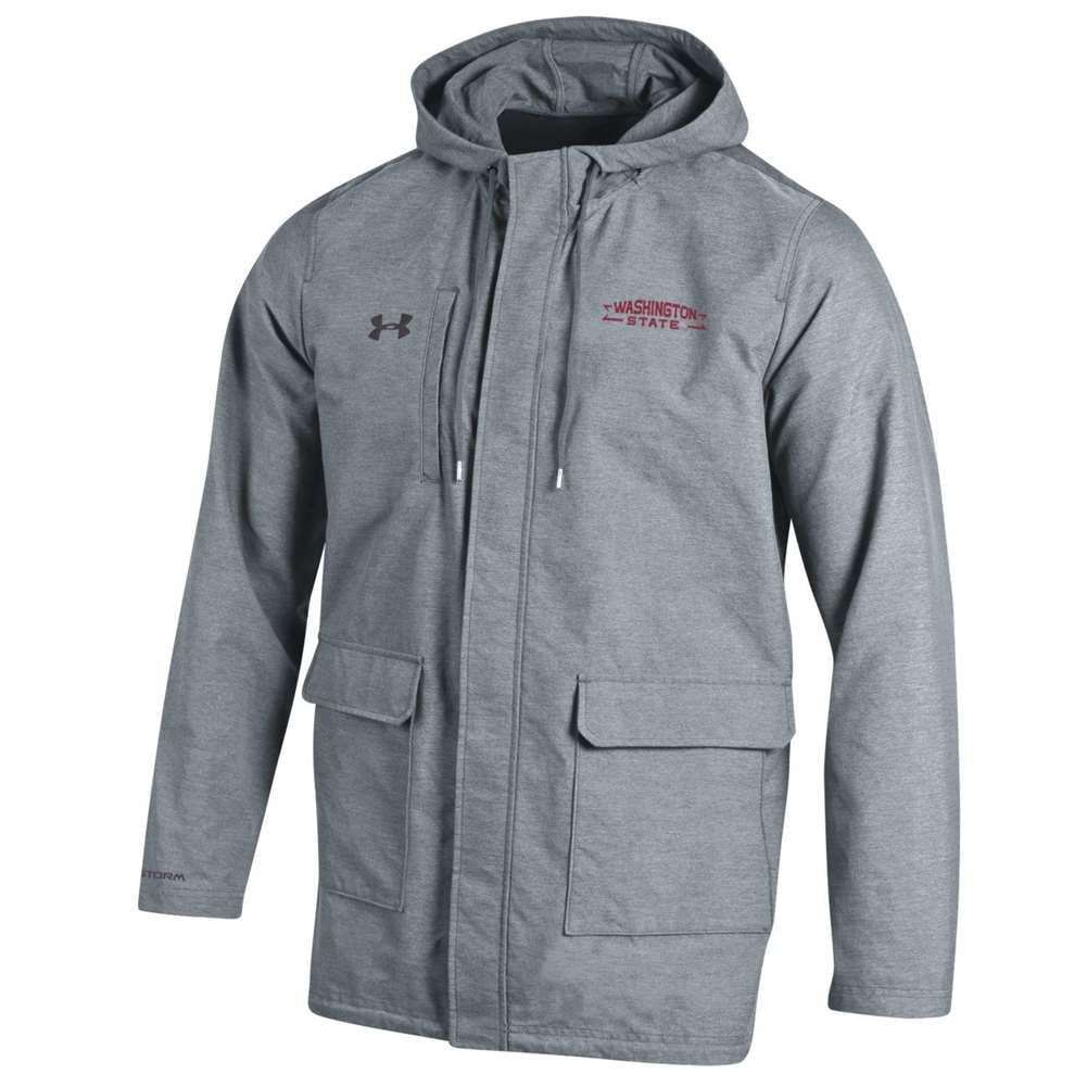 UA Washington State Cougars Storm Twill Parka Jacket - Steel
