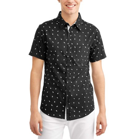 666b7065e2db5 Big Men s Conversational Printed Brushed Soft Short Sleeve Button-down Shirt  - Walmart.com