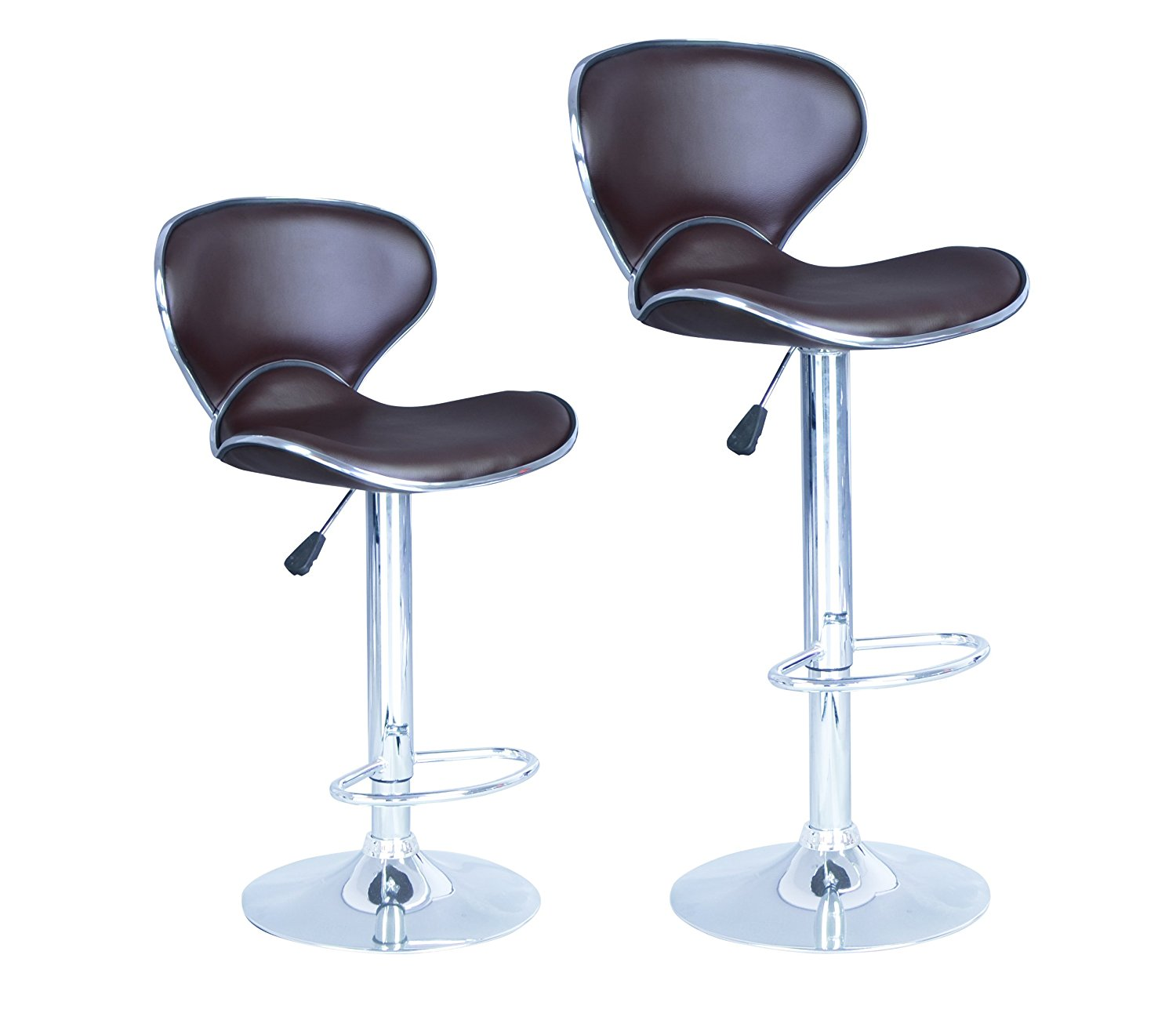 Superbe BrownModern Adjustable Synthetic Leather Swivel Bar Stools Chairs B03 Sets  Of 2