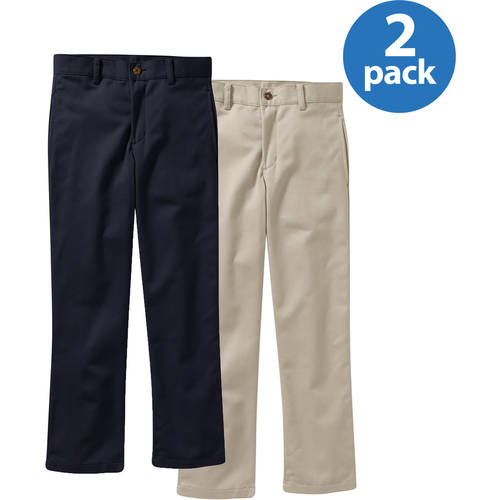 George Boys Flat Front Twill Pant with Scotchguard 2 Pack