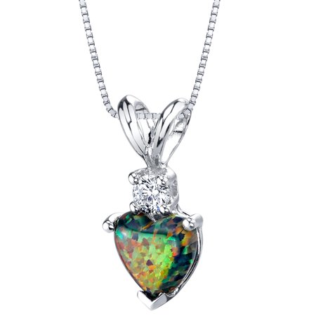0.5 ct Heart Shape Created Black Opal and Diamond Pendant in 14K White Gold, 18