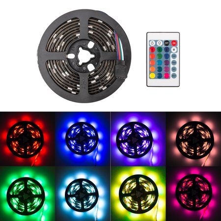 6.6ft Super Bright LED Strip+24Key Remote, 5050SMD RGB 16 Color Changable LED Light, Battery Powered Strip Lamp Backlight, Perfect for back lighting, mood lighting, cupboard, party, camping,
