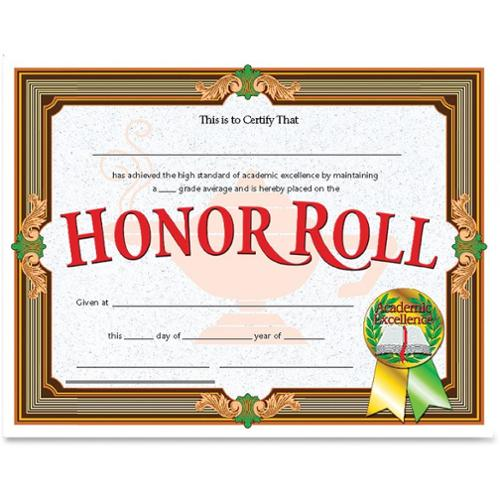 "Hayes Honor Roll Certificate, 8.5"" x 11"", Pack of 30"