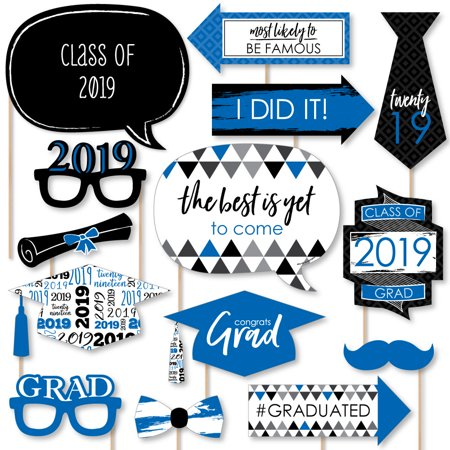 Blue Grad - Best is Yet to Come - Royal Blue 2019 Graduation Party Photo Booth Props Kit - 20