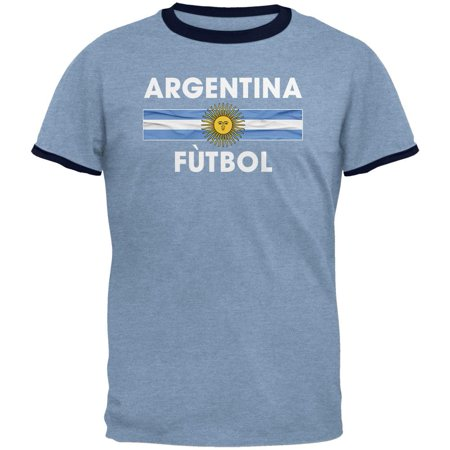World Cup Argentina Crest Futbol Soccer Mens Ringer T Shirt Heather Blue-Navy SM Soccer Sport Futbol Old Shirt