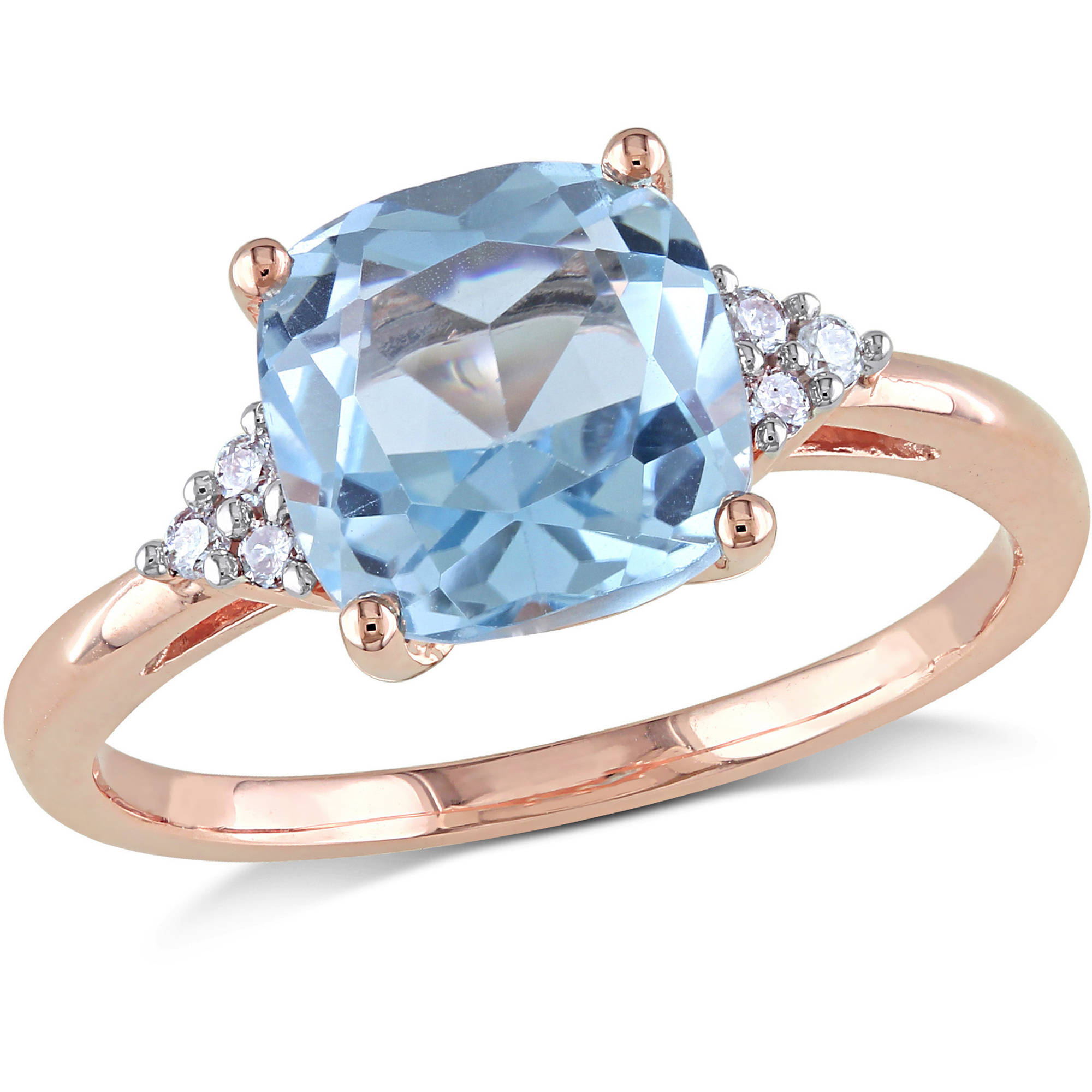 Tangelo 2-1 2 Carat T.G.W. Blue Topaz and Diamond-Accent 10kt Rose Gold Cocktail Ring by Tangelo