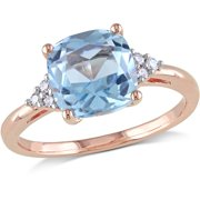 2-1/2 Carat T.G.W. Blue Topaz and Diamond-Accent 10kt Rose Gold Cocktail Ring
