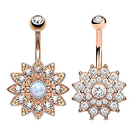 BodyJ4You Belly Button Ring Jeweled Flower Crystal Created-Opal Rose Goldtone 14G Piercing Bar 2-Piece Austrian Crystal Belly Ring
