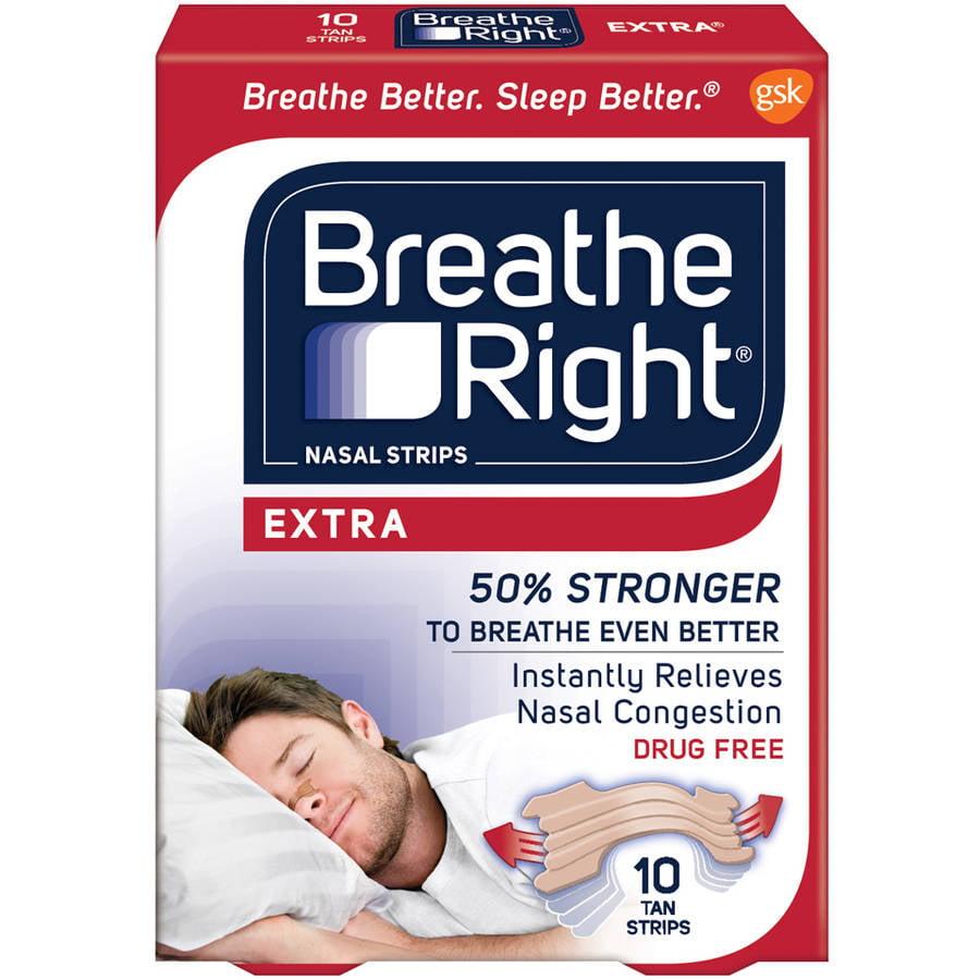 Breathe Right Extra Nasal Strips, Tan Color Strips for Sensitive Skin, Drug Free, 10 Strips