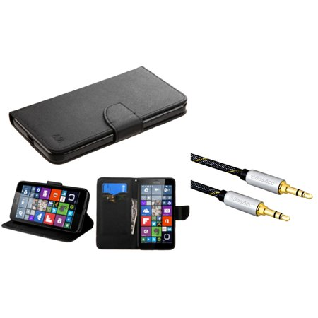 Insten Flip Leather Wallet Case with card slot For Microsoft Lumia 640 XL - Black (+ 3.5mm Universal Audio Cable)