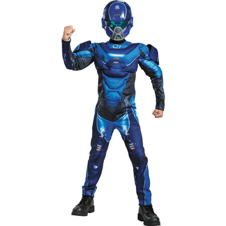 Blue Spartan Muscle Child Halloween Costume - Spartan Mascot Costume