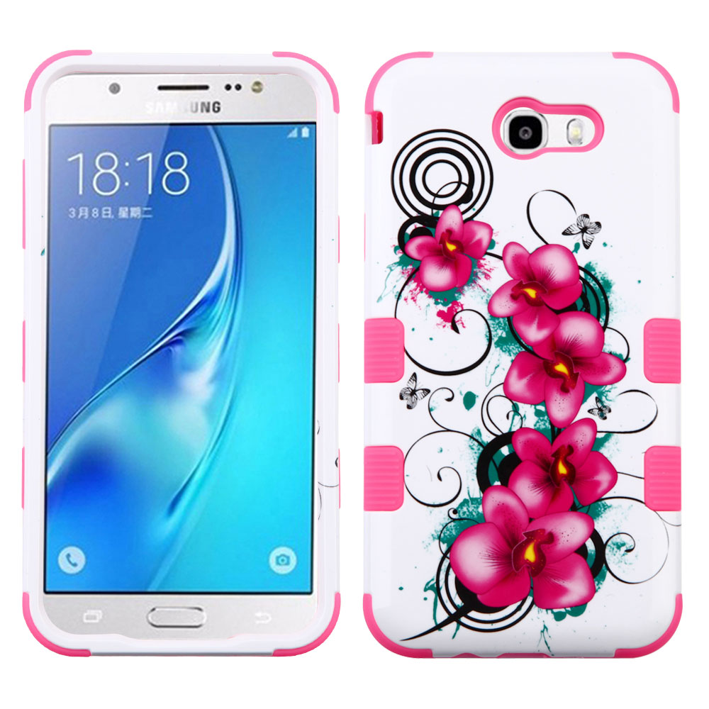 Samsung Galaxy J7 Sky Pro 4G LTE Case - TUFF Series [Military Grade Drop Tested - MIL-STD 810G-516.6] Heavy Duty Shock Resistant Protective Case (Pink Flowers) and Atom Cloth
