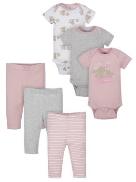 Wonder Nation Baby Girl Outfit Short Sleeve Bodysuits & Pants Shower Gift Set, 6-Piece