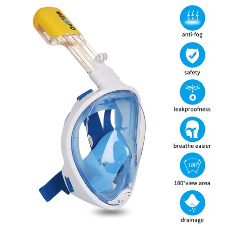 Full Face Snorkel Mask with Camera Mount for GoPro, Anti-Fog Underwater Diving Snorkel