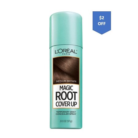 L'Oreal Paris Magic Root Cover Up Gray Concealer Spray, Medium Brown, 2 (Best Hair Color For Grey Hair 2019)