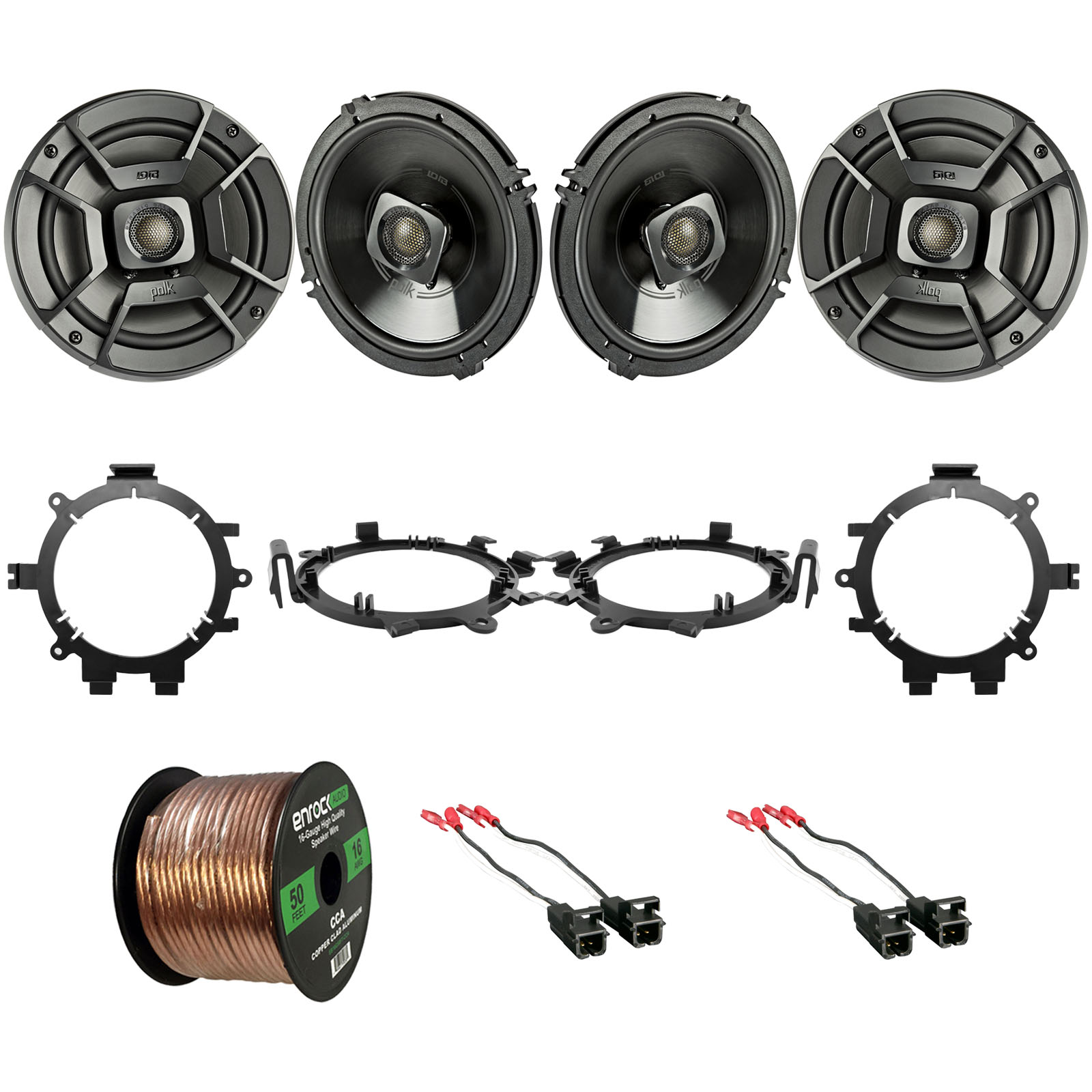 "4x Polk DB652 6.5"" 300W 2 Way Car/Marine ATV Speakers, 4x Metra Speaker Wire Harness, 4x Speaker Mounting Brackets Adaptors, 16-Gauge 50 Foot Wire (Select 1995-2009 Vehicles)"