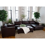 Elements Fine Home Urban Leather 3 Pc. Sofa Set with Rectangle Cocktail Ottoman