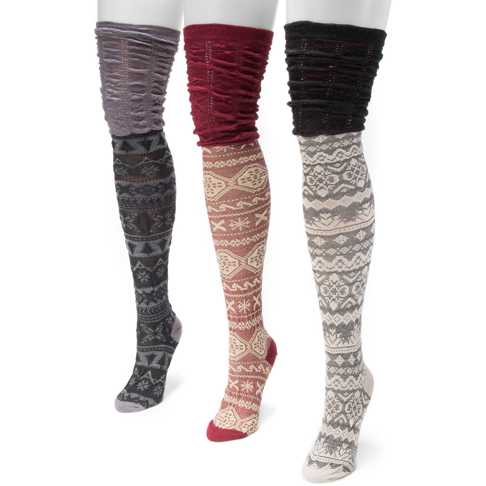 Women's 3 Pair Pack Microfiber Over the Knee Socks