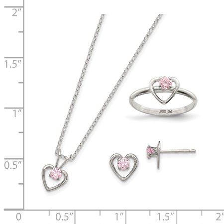 "925 Sterling Silver Childs 15"" Necklace, Earrings & Size 3 Ring Set - image 1 of 2"