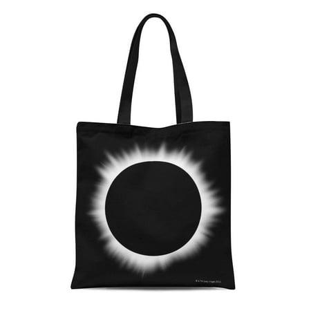 LADDKE Canvas Tote Bag Space Solar Eclipse Corona Photography Exploration Landing Mars Galaxy Reusable Handbag Shoulder Grocery Shopping