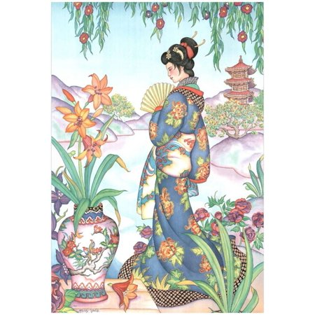 Asian Lady with Fan Lithograph Poster - 13x19 - Asian Fans